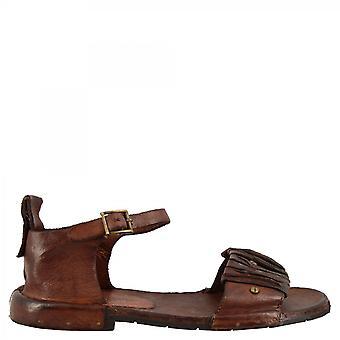 Leonardo Shoes Women's handmade flat ankle strap sandals dark brown calf leather