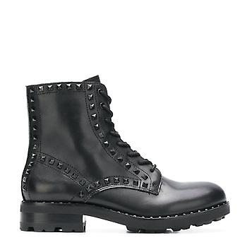 Ash Footwear Wolf Black Leather Black Studded Lace Up Boots