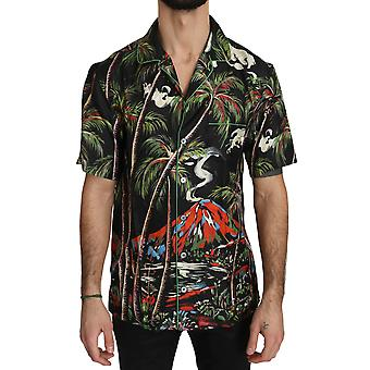 Dolce & Gabbana multicolor Shortsleeve Silk Jungle Volcano Shirt -- TSH3167600