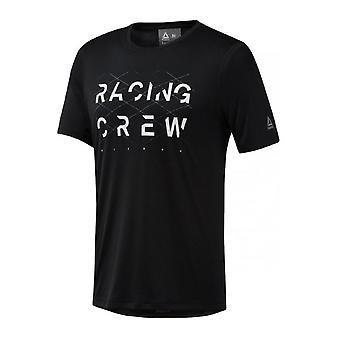リーボックレーシングクルーメンズランニングフィットネスTシャツティートップブラック