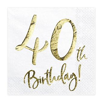 40th Birthday Party Paper Napkins x 20 White and Gold