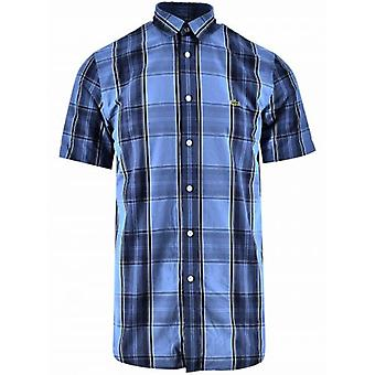 Lacoste Regular fit Navy kortærmet tjekket skjorte