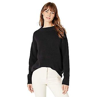 Lark & Ro Women's Boucle Mock Neck Oversized Sweater, Black, X-Large