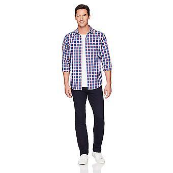Essentials Men's Regular-Fit Long-Sleeve Casual Poplin Shirt, blue/red...
