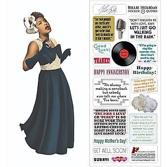 Papelería - Billie Holiday - Tarjeta y hoja de pegatinas nueva 3326