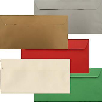 Xmas pakke 50 Xmas DL skræl/Seal luksus 120gsm konvolutter