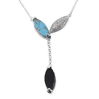 GP Black Spinel Ketting Sterling Silver Platinum Vergulde Turquoise Blue Sapphire