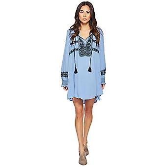 Free People Womens Wind Willow Embroidered V-Neck Mini Dress Blue M