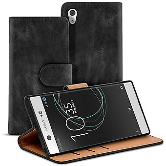 Vintage Book Case with Card Slot for Sony Xperia XA1 Ultra Wallet Leatherette Black
