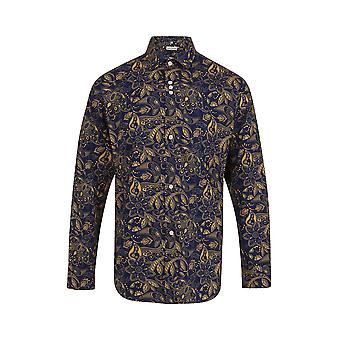 Jenson Samuel Navy & Gold Paisley Floral Print Regular Fit Cotton Shirt