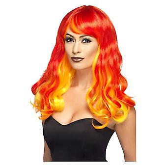 Kvinders Ombre Devil Flame Paryk Rød og Orange
