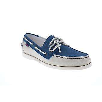 Sebago Portland Jibs  Mens Blue White Loafers & Slip Ons Boat Shoes