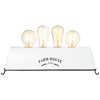Lámpara de mesa de vida de la granja de la lámpara BRILLANTE 4flg blanco - 4x A60, E27, 30W, adecuado para lámparas normales (no incluidas) Escala