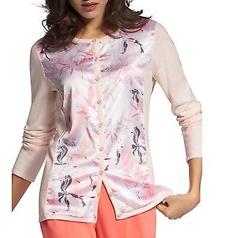 Basler | Floral Mixed Media Cardigan Top