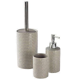 3pc Badezimmer Zubehör Set - Keramik - grau