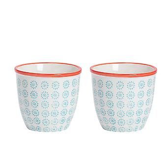 Nicola Spring 2 Piece Hand-Printed Plant Pot Set - Porcelain Indoor Outdoor Flower Pots - Turquoise - 14 x 12.5cm