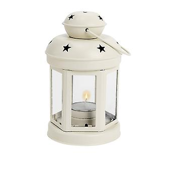 Nicola Spring Candle Lanterns Tealight Holders Vintage Metal Hanging Indoor Outdoor - 16cm - Cream