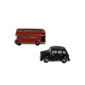Slips Planet 3d Sort Cab & Rød Bus Manchetknapper