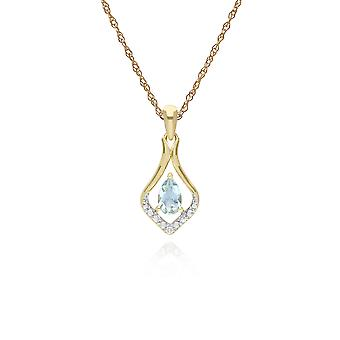 klassisk pære aquamarine & tre diamant blad halo anheng halskjede i 9ct gult gull 135p1915049