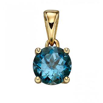 אלמנטים זהב 9ct דצמבר הטופז הכחול לונדון תליון GP2199