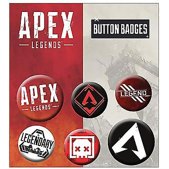 Apex Legends Buttonset Mix Icons 4 Buttons (25 mm) + 2 Buttons (32 mm) aus Metall, in Blisterverpackung.
