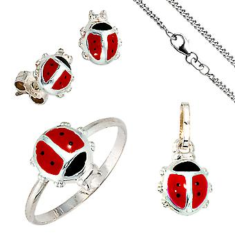 Children's jewelry set ladybug 925 silver pendant earrings ring chain 42 cm