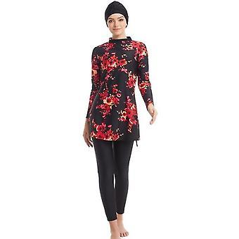 Muslim Women Swimwear Modest Patchwork Full Cover Long Sleeve Swimsuit Islamic