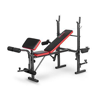 Sportbank - opklapbaar - multifunctioneel - volledig instelbaar - voor gewichten - zwart & oranje - premium