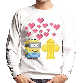 Despicable Me Minion Pixel Love For Fire Hydrant Men's Sweatshirt