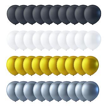 Ballons 40-Pack Schwarz, Weiß, Gold und Silber 30 cm (12 Zoll)