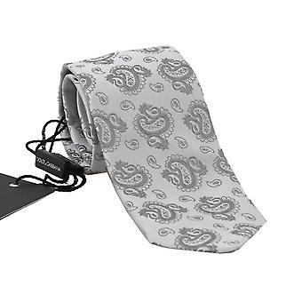 Corbata clásica con estampado de paisley de seda gris