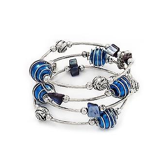 Silberfarbenes Perlen Multistrand Flex Armband - Marineblau