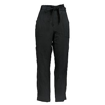Alle kvinner's bukser vanlig fransk Terry Paperbag midje svart A367666