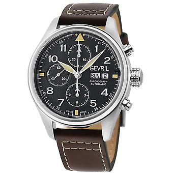 Gevril Men's Vaughn Black Dial Brown Calfskin Leather Watch