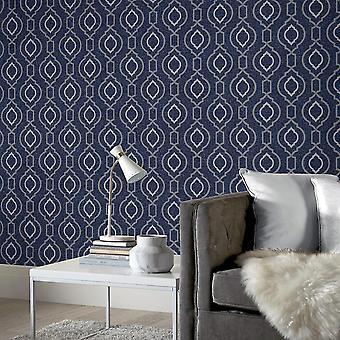 Calico Trellis Texture Tapet Navy Arthouse 921402