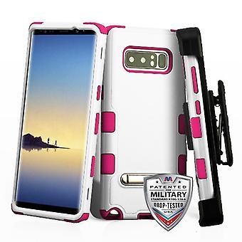 MYBAT Crema Natural Blanco/Caliente Rosa TUFF Hybrid Case (con soporte) (con funda horizontal negra) para Galaxy Note 8