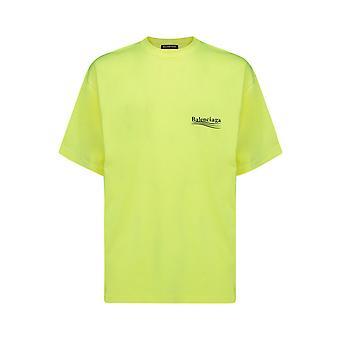 Balenciaga 641675tjvf77110 Männer's gelbe Baumwolle T-shirt