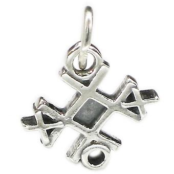 Tic Tac Toe Sterling Silver Charm .925 X 1 Noughts And Crosses Charms - 4032