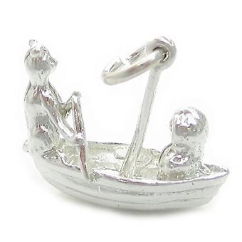De uil en poesje kat in boot sterling zilveren charme .925 X 1 kinderdagverblijf rijm - 4754