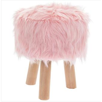 Pink Furry Stool Round By Lesser & Pavey