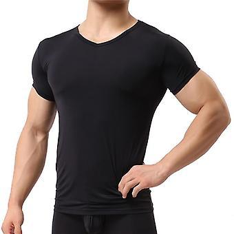 Undershirt Buz İpek Spandex Sheer T Shirt Erkek Naylon V yaka Kısa Kollu Üstler