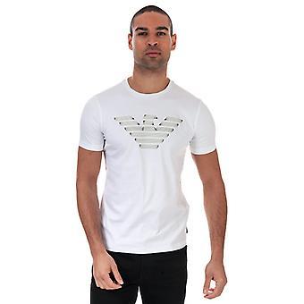 Menn's Armani Trykt Disposisjon Logo T-skjorte i hvit