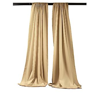 La Linen Pack-2 Polyester Poplin Backdrop Drape 96-Inch Wide By 58-Inch High, Khaki