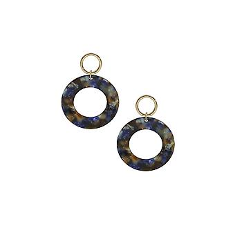 Blue Mix Resin Hoops In Gold