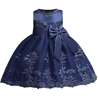 Baby Girls Bowknot Tutu Party šaty tmavo modrá