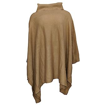 Dennis Basso mujeres'suéter cuello de tortuga punto Poncho Brown A311294
