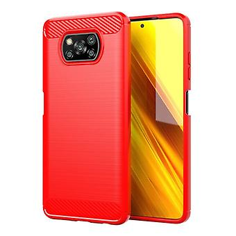 Stuff Certified® Xiaomi Poco X3 Pro Case - Carbon Fiber Texture Shockproof Case Rubber Cover Red