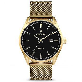 Vincero Bla-golm-k14 The Kairos Black & Gold Mesh Men's Watch