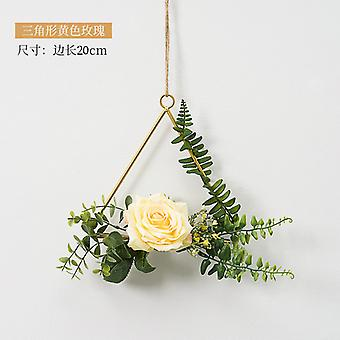 Flower Wreath Wedding Triangle Metal Wreath iron Ring Hoop Door Hanging Craft Party Decor Easter Wedding Wreaths