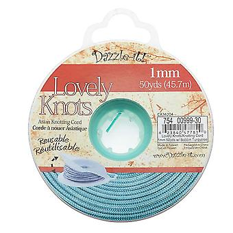 Lovely Knots - Asian Knotting Cord 1mm Thick - Turquoise (50 Yards On Bobbin)